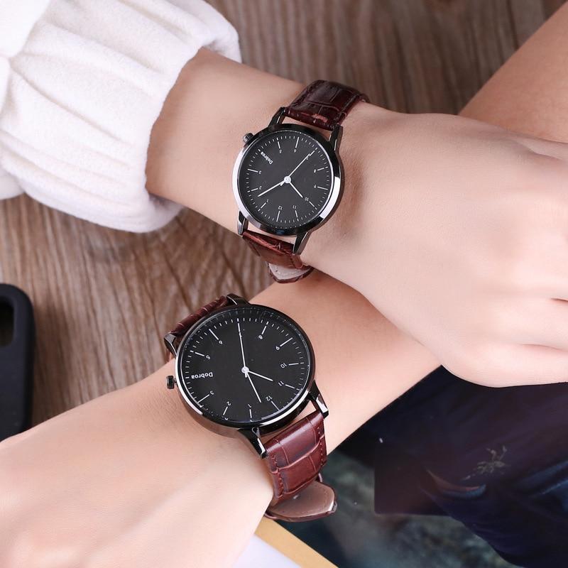 Fashion Couple Watch Set Leather Quartz Top Brands Women Watches Casual Sports Wrist Watch Men Clock Reloj Mujer