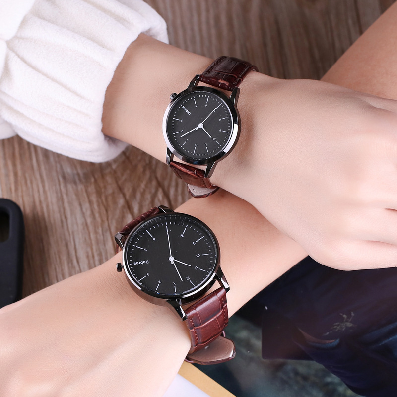 Fashion <font><b>Couple</b></font> Watch Set Leather Quartz Top Brands Women Watches Casual Sports Wrist Watch Men Clock Reloj Mujer image