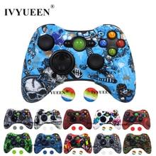 IVYUEEN 20 צבעים עבור Microsoft Xbox 360 בקר מגן סיליקון מקרה העברת מים הדפסת עור עם אגודל אוחז כיסוי