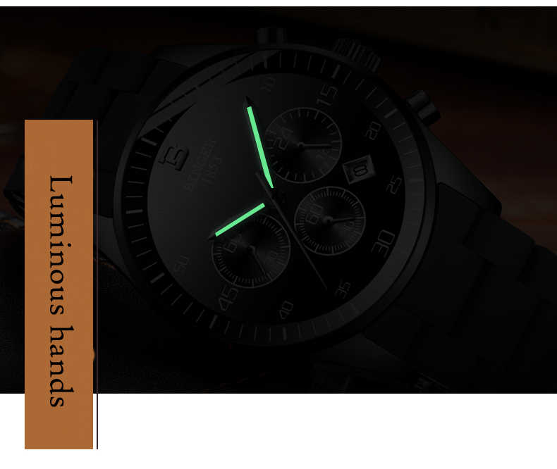 BINGER mode hommes montres haut de gamme marque chronographe montre-bracelet Quartz horloge Sport étanche montre hommes relogio masculino
