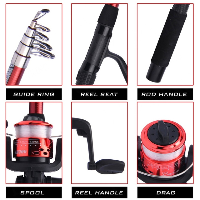 Fishing Rod and Reel Full Kits with Telescopic Fishing Rod and Reel Baits Hooks Saltwater Freshwater Travel Pole Set 3