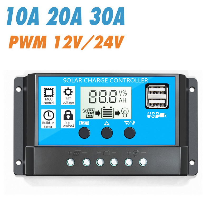 10/20/30A 12V/24V Auto Solar Charge Controller PWM 5V  Solar Panel Battery Controller  With Dual USB LCD Display