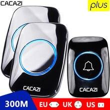 Timbre inalámbrico CACAZI 60 Chime 110DB 300M a prueba de agua remoto EU AU UK US Plug Smart Door Bell Battery 1 botón 1 2 3 receptor