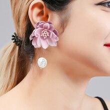 Wuli&baby Fabric Flower Drop Earrings For Women Pink White Korean Style Dangle
