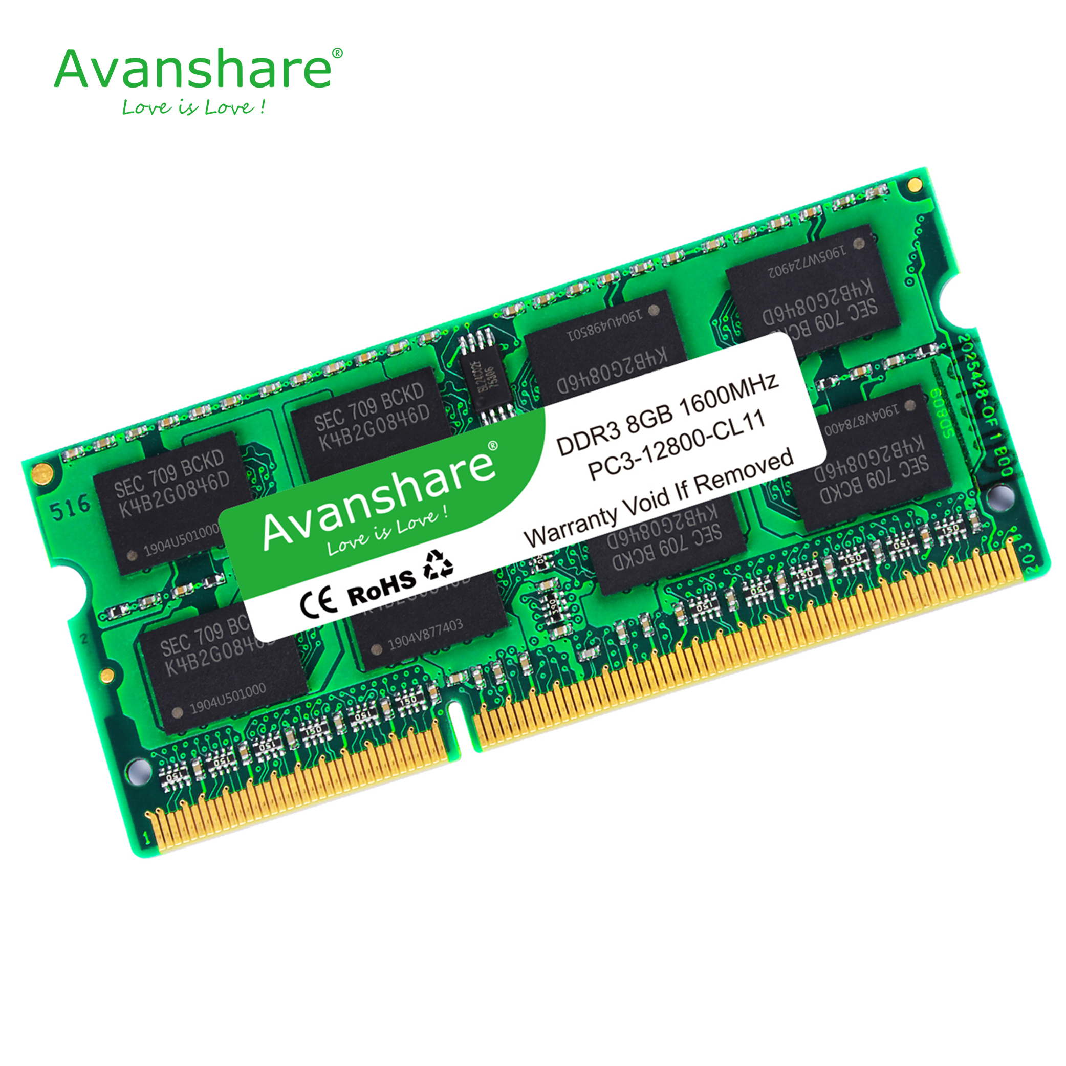 Avanshare Sodimm Ram Memory 1.5v LAPTOP DDR3 2GB 4GB 8GB DDR3 PC3 10600 1333Mhz DDR3 PC3 12800 1600MHz 204pin for super gaming image