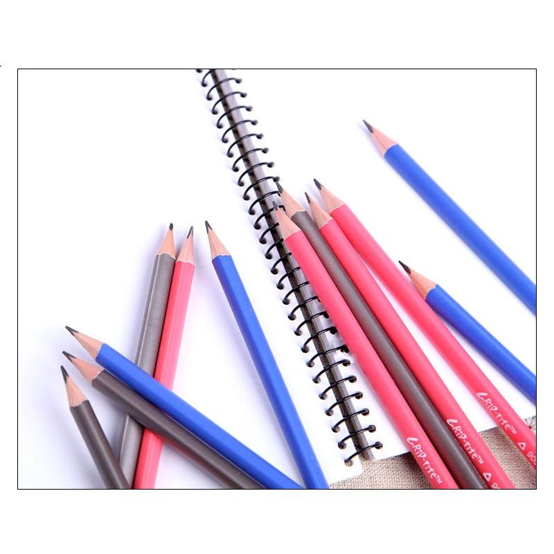 12 PCS/SET HB Pencil Wood School Triangle Pencil Standard Pencils for Correction Writing Posture Child