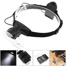 6X Portable Headband Eyeglass Magnifier 11 Amplification Ratio Magnifying Glass Interchangeable Lens with LED Light and 5 Lenses
