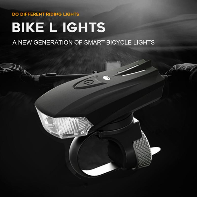Bicycle Light Smart Sensing Vibration USB Rechargeable Night Riding Warning Light Mountain Bike Headlight Bicycle Accessories