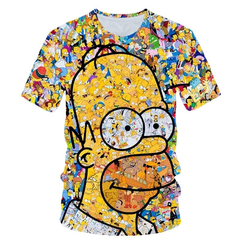 Anime T-shirt Boys Girl Simpson Printing 3D T shirt casual Harajuku cartoon funny O-neck short-sleeved Tshirt  4-14