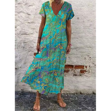 Print Summer Dress Women Casual Short Sleeve Plus Size Woman Dress A-Line Ruffles Maxi Dresses for Women 2021 robe femme 5XL