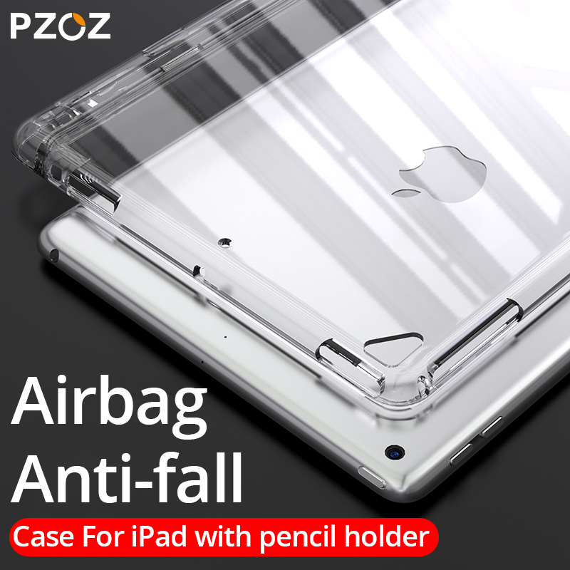 PZOZ Case With Pencil Holder For IPad 9.7 Pro 10.5 11 Case 2018 2017 Ultra-Thin Soft TPU Silicone Transparent With Pencil Case