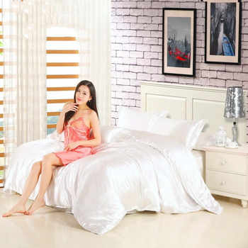 2020 Deluxe Satin silk bedding set, quilt cover, bed sheet and pillowcase for single and double bedding