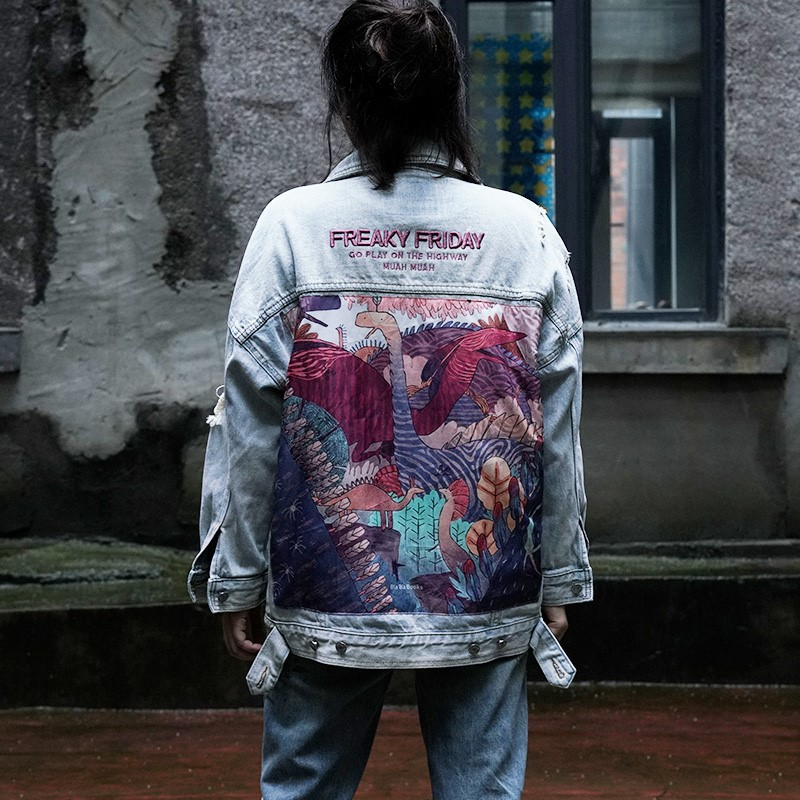 2019 Autumn New Denim Jacket Female Retro Loose Printed Coat