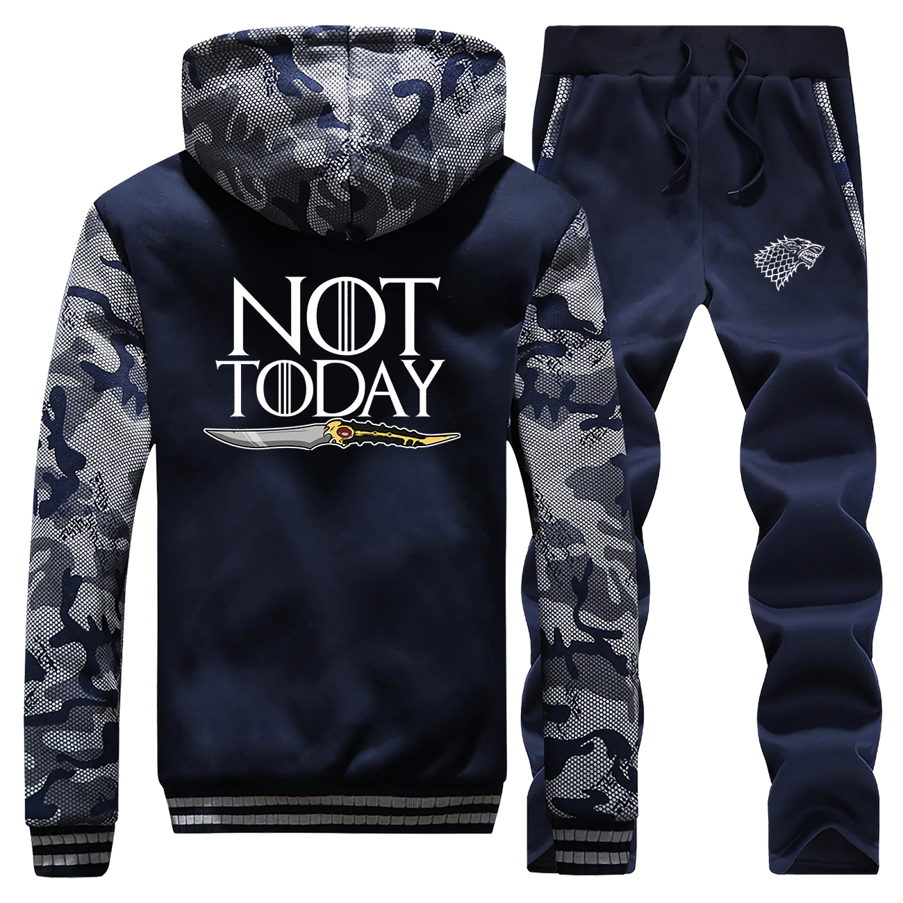 Game Of Thrones Hoodies Pant Set Men Ayra House Stark Tracksuit Coat Track Suit Winter Thick Not Today Jacket Camo 2 PCS Sets