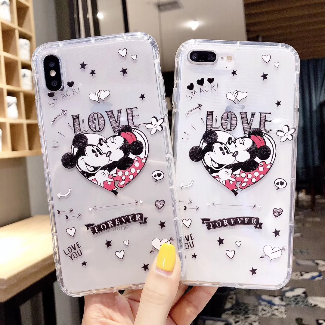 Cartoon classic anime Disneys Minnie Mickey couple phone case for iphone Xs MAX XR X 6 6s 7 8 plus Funny pattern TPU back cover in Fitted Cases from Cellphones Telecommunications