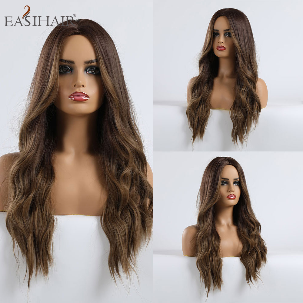 EASIHAIR Long Brown Ombre Synthetic Wigs for Women Middle Part Wigs High Density Wavy Cosplay Wig Heat Resistant Wigs Fake Hair