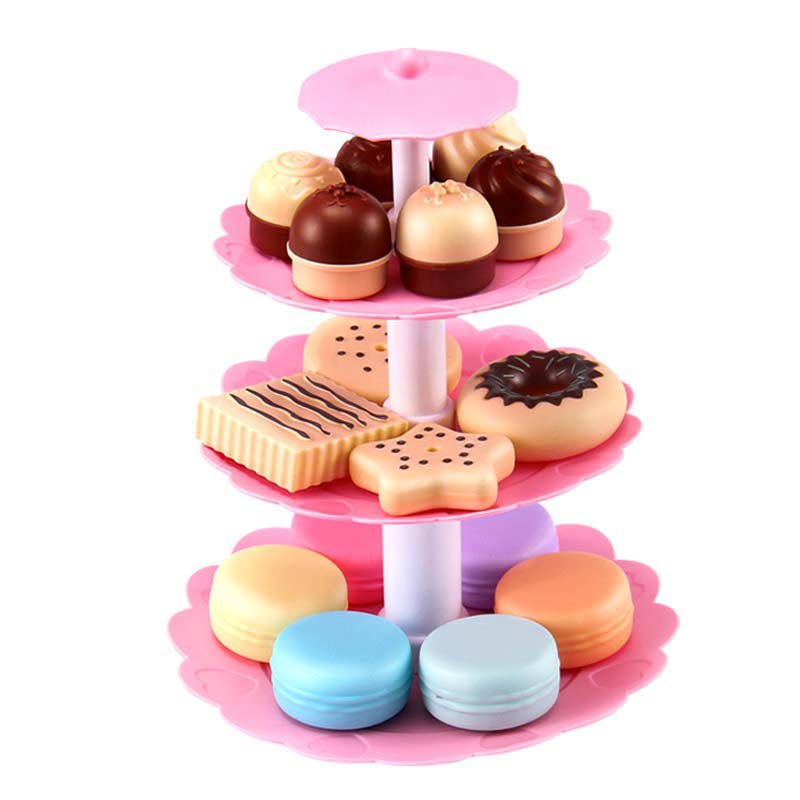 Hot Sale Girl Pink Cake Tower Mini Cookie Food Set Children's  Plastic Kitchen Toys Kids Pretend Play Birthday Gift Dropshipping