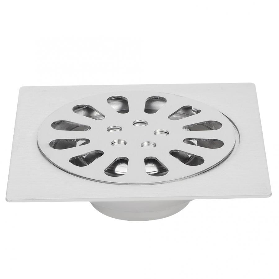 Single Zinc Alloy Bathroom Shower Square Floor Drain Cover Deodorant Kitchen It Can Be Used In Kitchen Garage Basement image