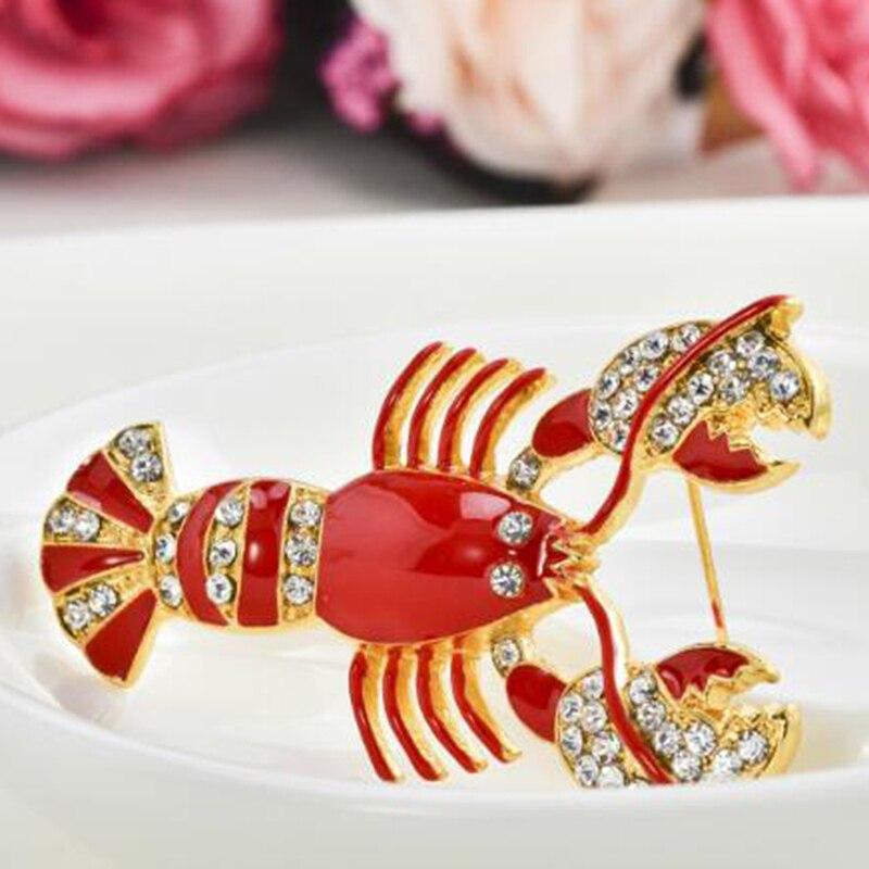 Estilo Vintage Rojo Diamante Langosta Broche Pin Nuevo