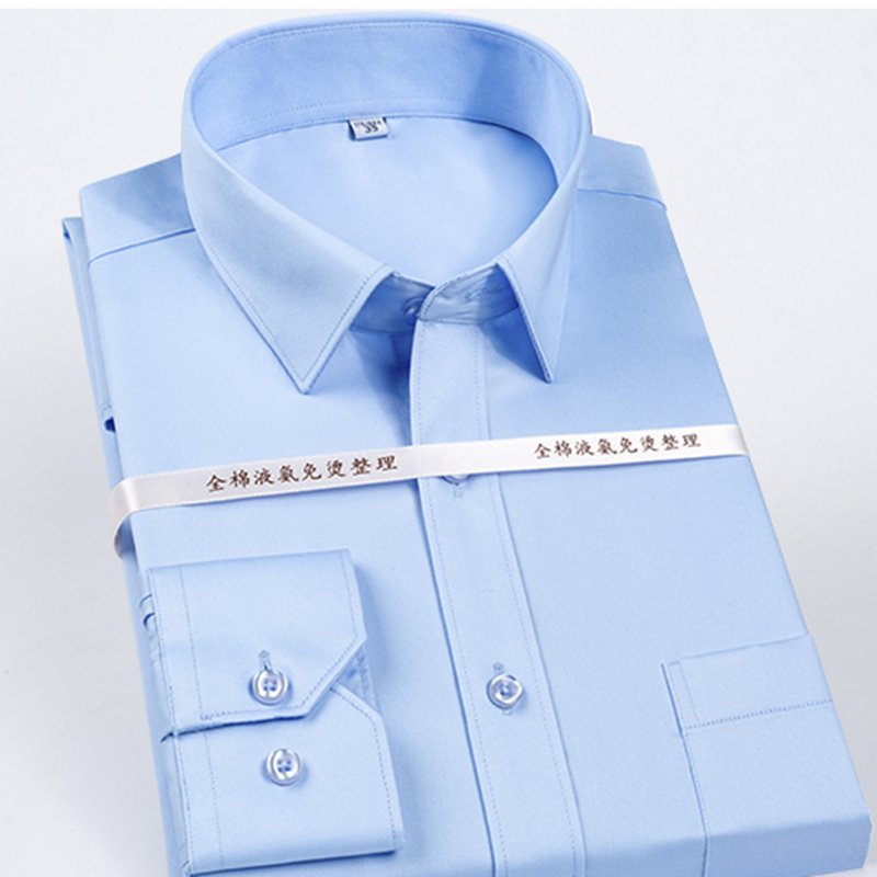 High Grade 100% Mercerized Cotton Square Collar Solid  S~5xl Men's Dress Shirts Long Sleeve Slim Fit Anti Wrinkle Easy Care