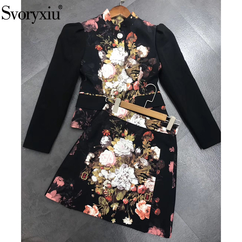 Svoryxiu Luxury Runway Autumn Winter Skirt Suit Women's Vintage Black Baroque Flower Print Crystal Diamond Two Piece Set