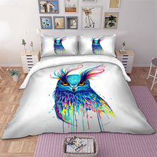 Wongs bedding Cold Art Owl Bedding Set Animal Duvet Cover Pillowcase Colorful Bedclothes kids Home Textiles