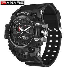 PANARS męski zegarek wojskowy 50m zegarek wodoodporny LED zegarek kwarcowy zegarek sportowy męski S Shock G style zegarki relogios masculino tanie tanio 26cm QUARTZ Podwójny Wyświetlacz Cyfrowy 5Bar Klamra CN (pochodzenie) Z tworzywa sztucznego 17 7mm Akrylowe Kwarcowe Zegarki Na Rękę