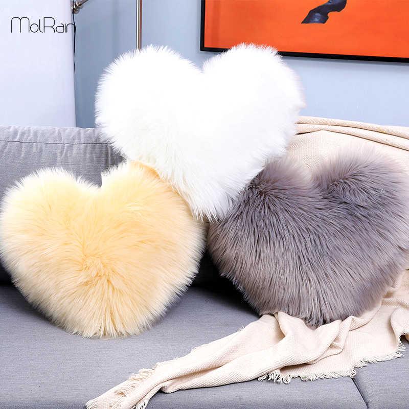 Heart Shaped Fluffy Faux Fur Plush Throw Pillow Case Shaggy Sofa Cushion Cover