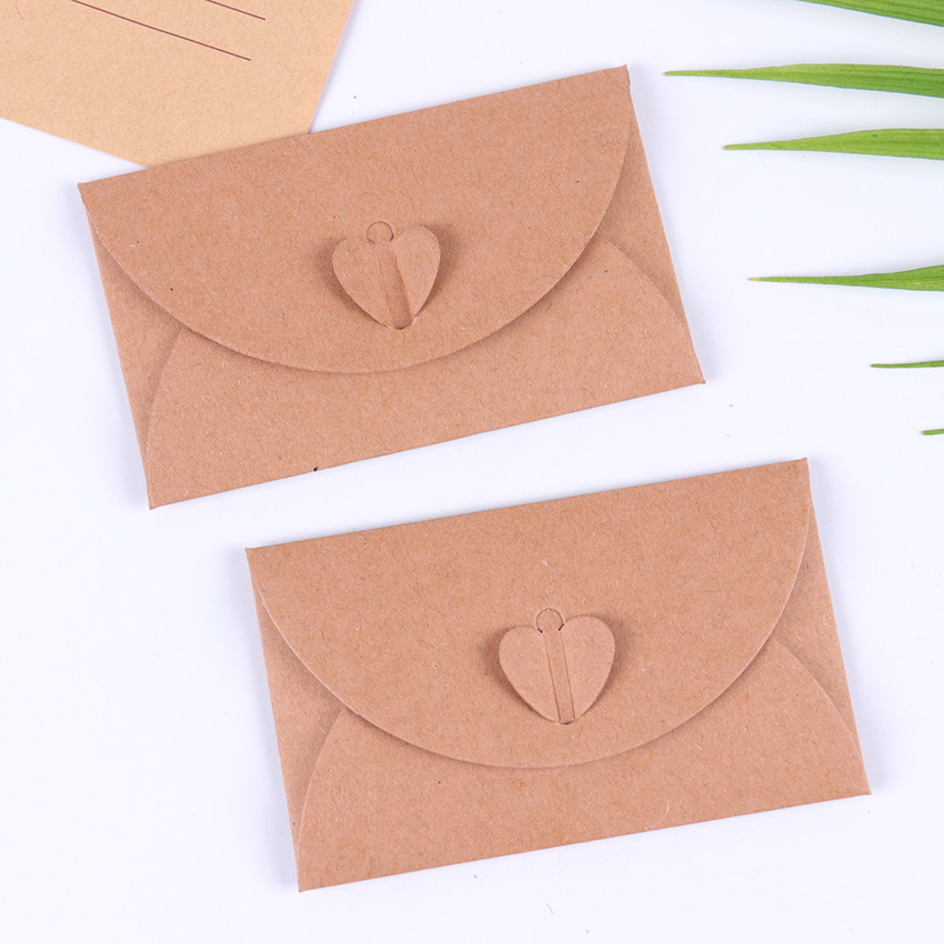 10PCS Classical Love Button Envelope Kraft Blank Mini Paper Window Envelopes Wedding Invitation Envelope Gift Envelope