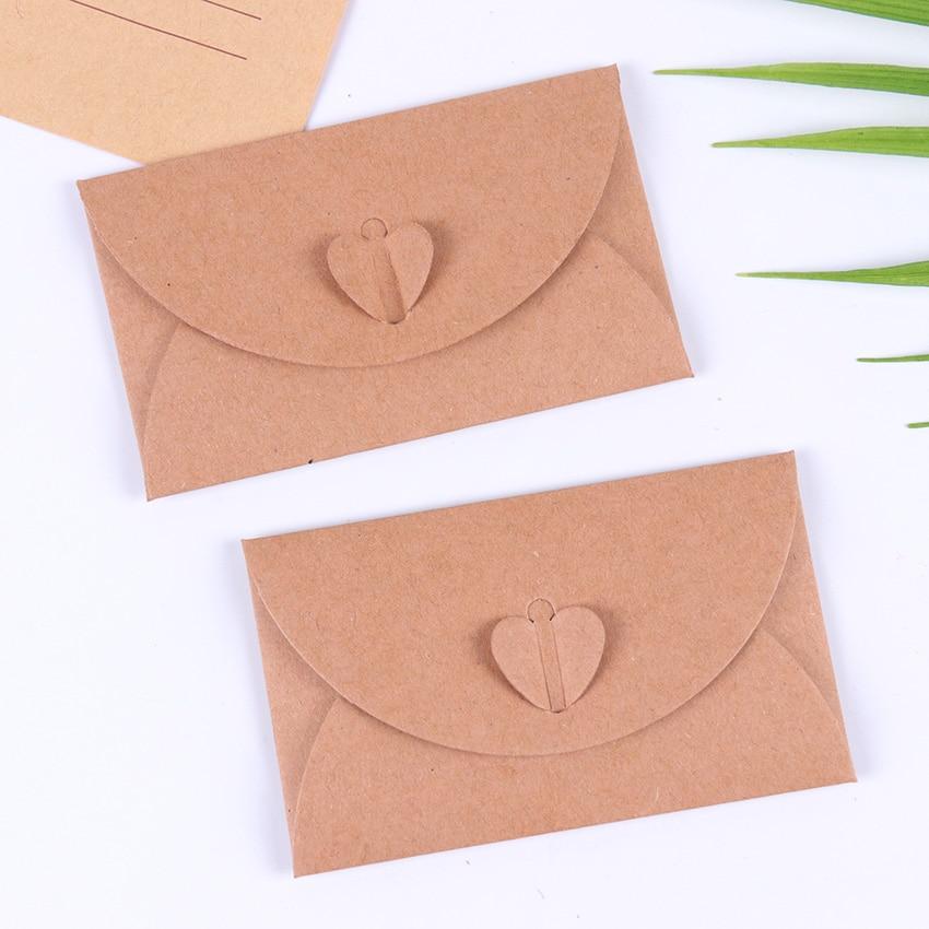 10PCS Classical Love Button Envelope Kraft Blank Mini Paper Window Envelopes Wedding Invitation Envelope Gift Envelope