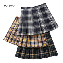 Fashion Summer Women Plaid Skirts Casual Pleated Skirt High Waist A-Line Female Skirt New Sweet Dance Ladies Girls Mini Skirts