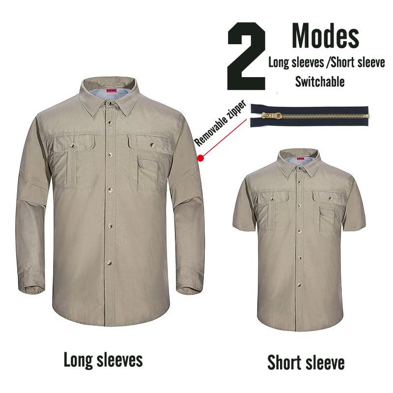 Профессиональные мужские походные футболки дышащие съемные спортивные топы рыбацкий трекинговый охотничий Мужской Быстросохнущий походная куртка - Color: Men 2