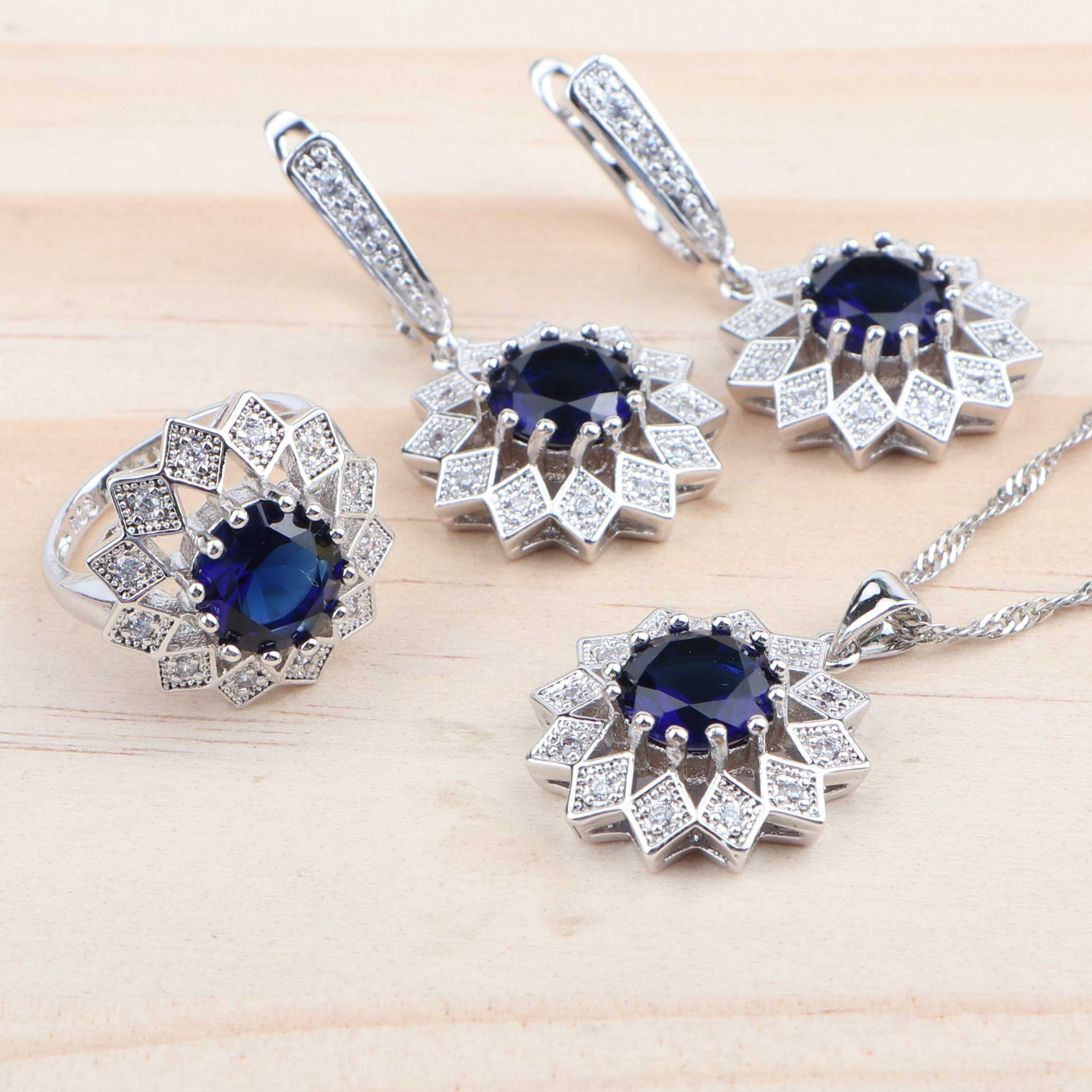 ผู้หญิงเครื่องประดับชุดเจ้าสาว 925 Silver Zirconia Blue Zirconia งานแต่งงานชุดสร้อยคอจี้แหวนต่างหูสร้อยข้อมือชุดเครื่องประดับ