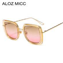 ALOZ MICC Ladies Square Sunglasses Women Brand Design Luxury Metal Frame Brown Pink Ocean Sun Glasses Elegant Female Shades Q700