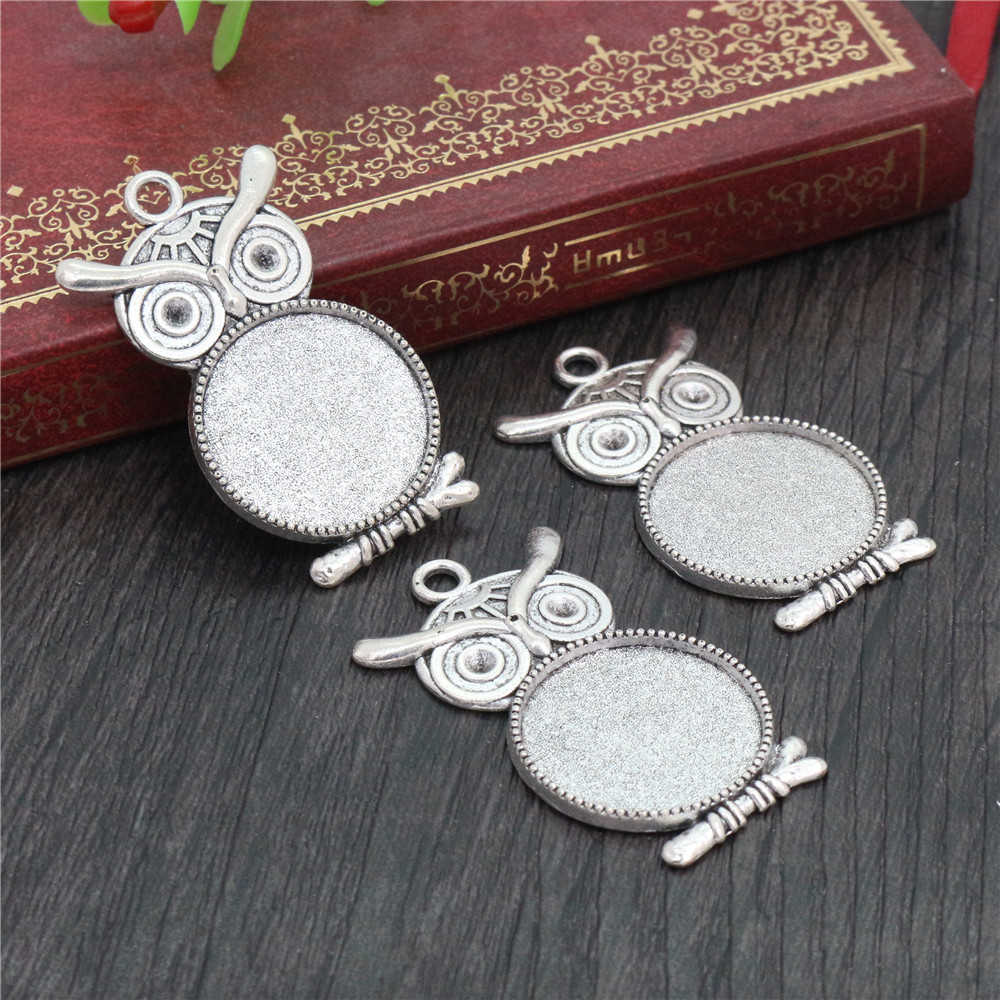 5pcs 20mm Inner Size Antique Silver Plated Classic Style Cabochon Base Setting Charms Pendant (D2-13)