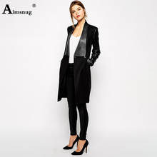 Aimsnug PU Leather Patchwork Long Jacket Women Trench Coat 2019 New Autumn Pockets Slim Office Ladies Blend Coats