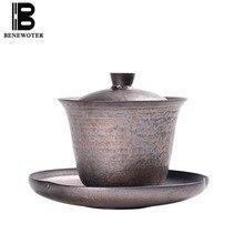 150 мл Винтаж в японском стиле грубая керамика Gaiwan с лотком ручной работы Керамика Чайные пиалы чайный набор кунг-фу чашки для чая креативные