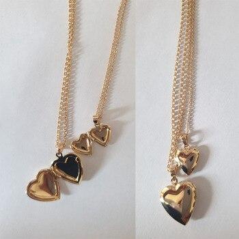 Schöne Süße Gold Farbe Zwei Größe Herz Medaillon Anhänger Layered Halskette Frauen Mädchen Persionized Gespeichert Schmuck Täglichen Casual