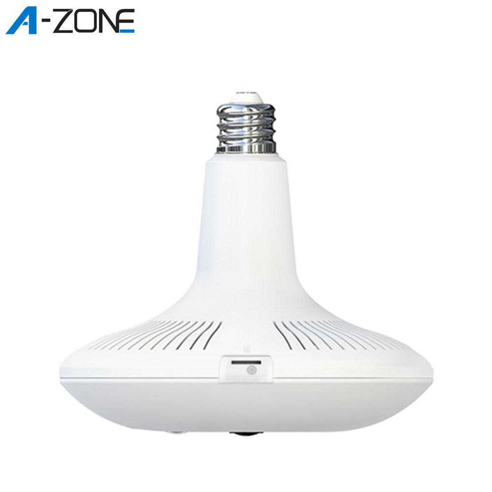 A-ZONE 360 Video Camera Home Light Bulb Wifi IP Camera PIR Motion Detection IR Night Vision 360 Panoramic Fisheye Lamp Camera
