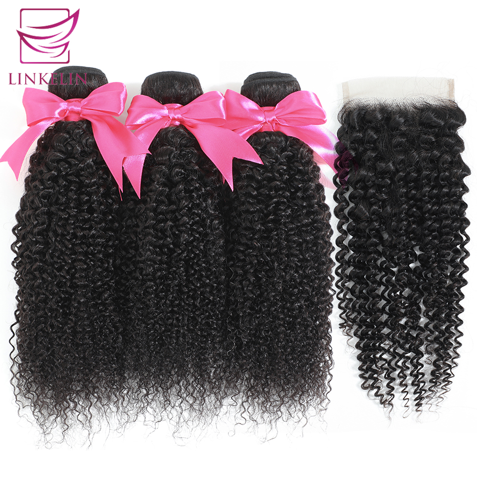 Kinky Curly Human Hair Malaysian Bundles With Closure LINKELIN HAIR Extensions 3 Bundles With Closure Remy Curly Bundles Wave