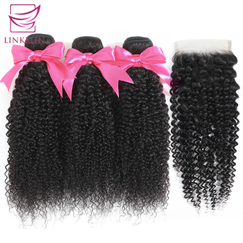 Kinky Curly Human Hair Malaysian Bundles With Closure LINKELIN HAIR Extensions 3 Remy Wave