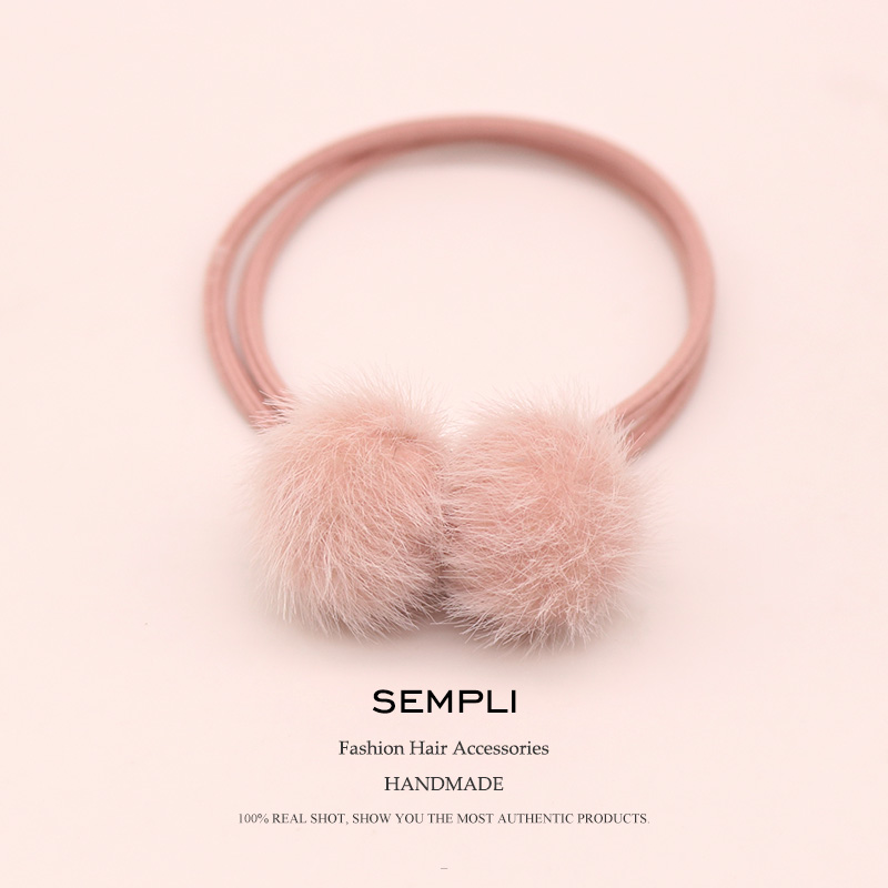 Sempli Winter High Elastic Elastic Bow-Knot Hairball Hair Bulb For Women Faux Fur Hair Band Kid Children Rubber Band New Design