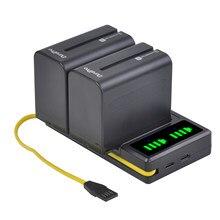 2Pc 7200mAh NP-F960 NP F970 Caméra Batterie + LED USB Chargeur pour Sony NP-F550 F770 F750 F960 FM500H FM70 QM91D QM71D HVR-V1J