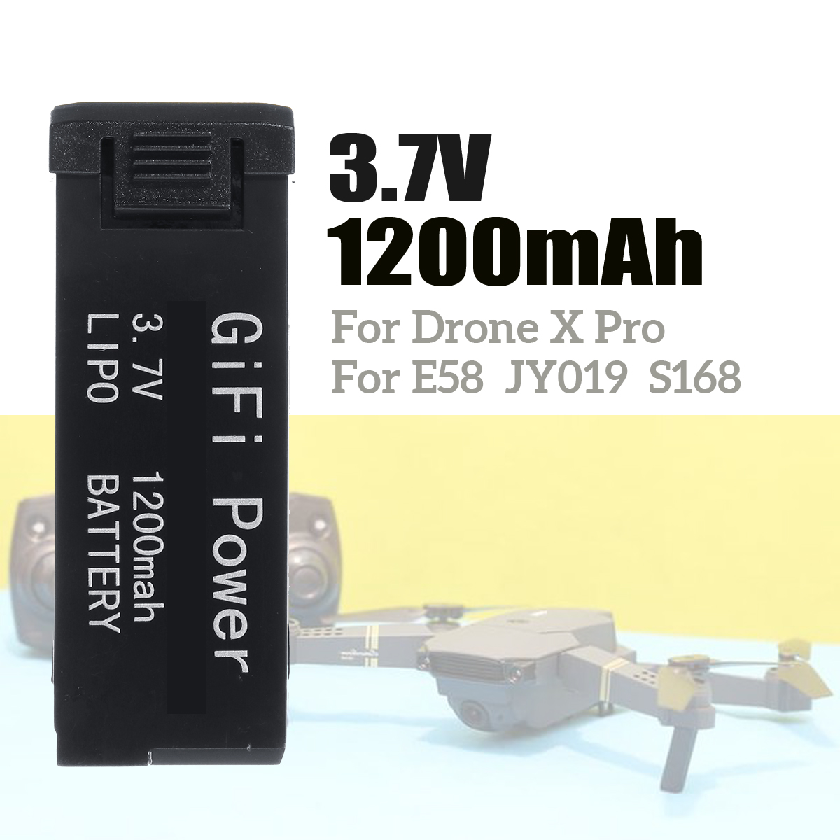 3.7 V 1200MAH Lipo Battery Rechargeable Replacement Portable For Drone X Pro RC E58 L800 S168  Quadcopter Battery Spare Parts