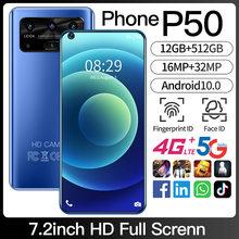 Telefone p50 versão global 5g/4g networ7.2inch celular 12gb + 512gb telefone inteligente rosto desbloquear android 10.0 gps