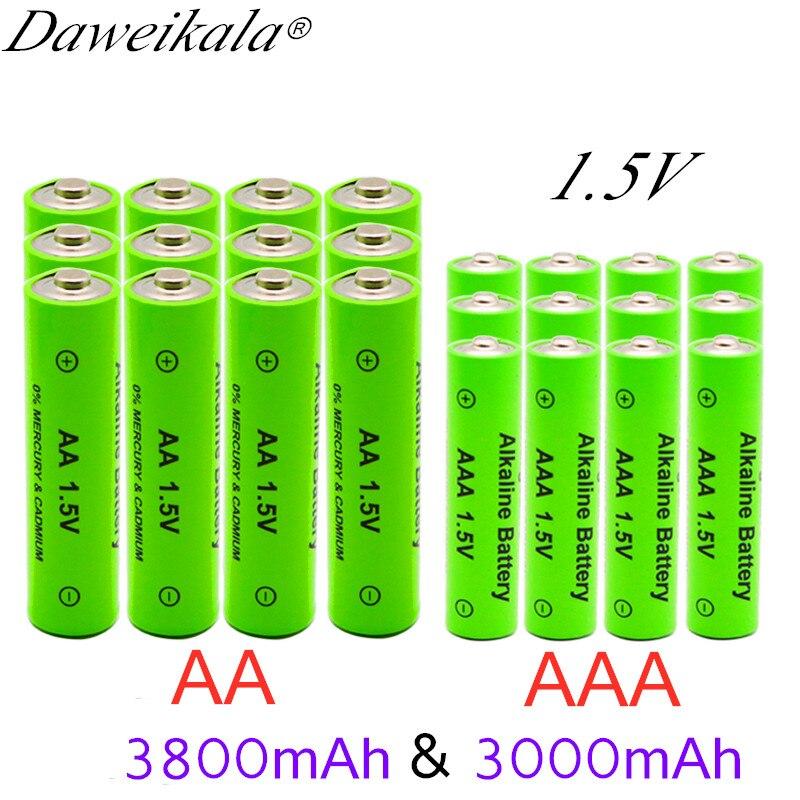 Щелочные батарейки AA 3800 мА · ч 1,5 В + щелочные аккумуляторные батарейки AAA 3000mAh1.5V, светодиодный светильник aa aaa для игрушек mp3, бесплатная доста...