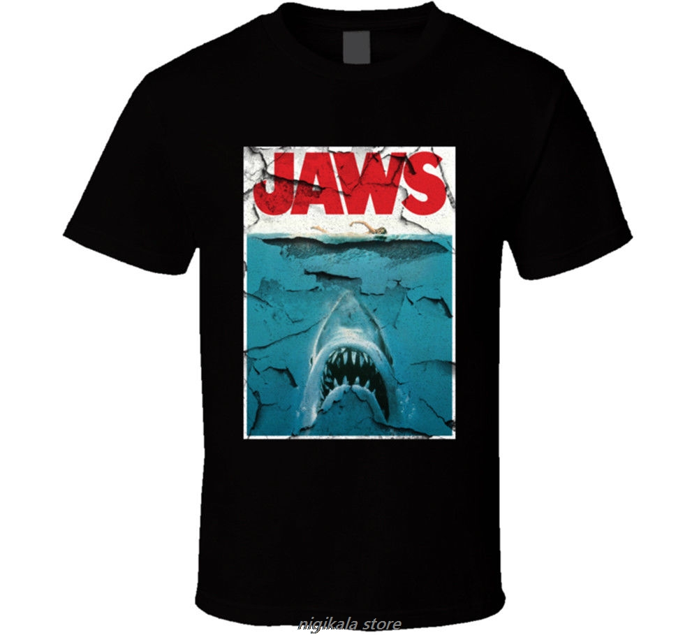 Jaws Shark Movie 80S Steven Spielberg Retro T Shirt Many Colors Gift Newest Fashion Stranger Things T-Shirt Men image