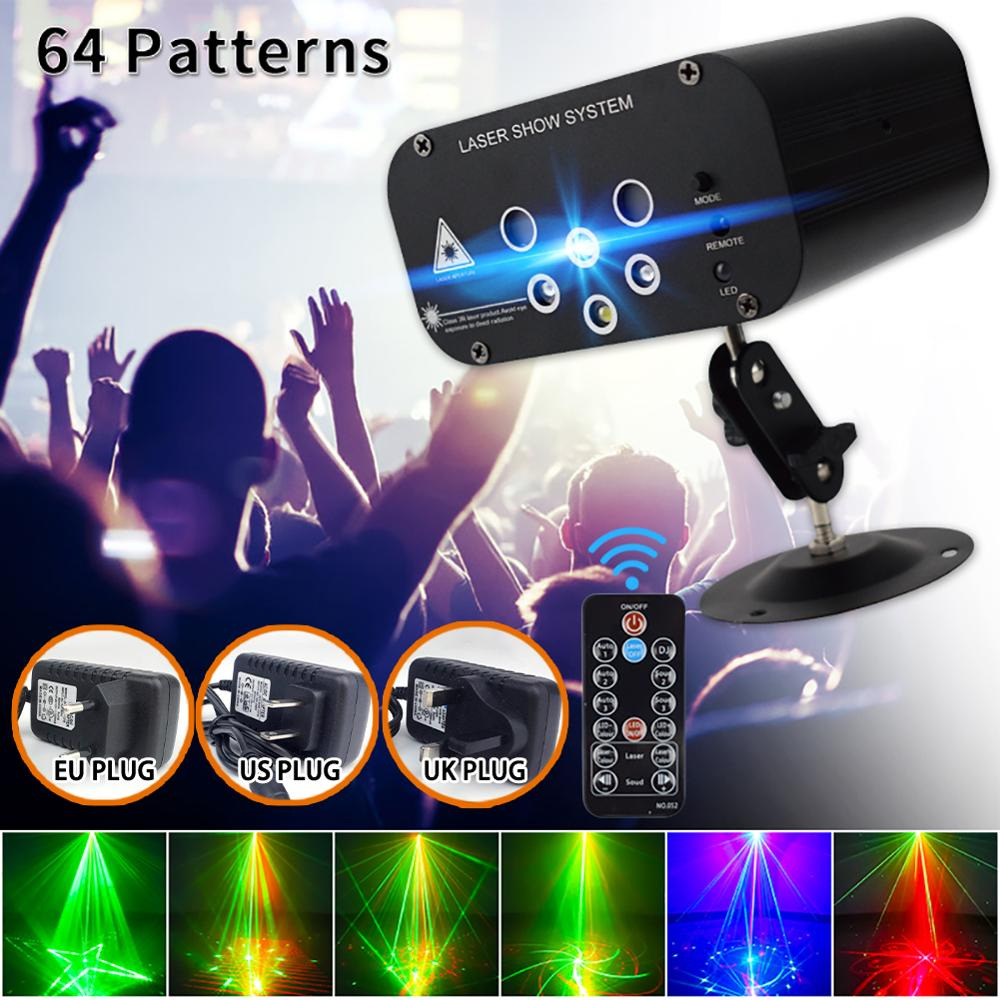 6Hole 64 Pattern Laser Projector Remote/Sound Actived LED Disco Light RGB DJ Party Stage Light Christmas Lamp Decoration