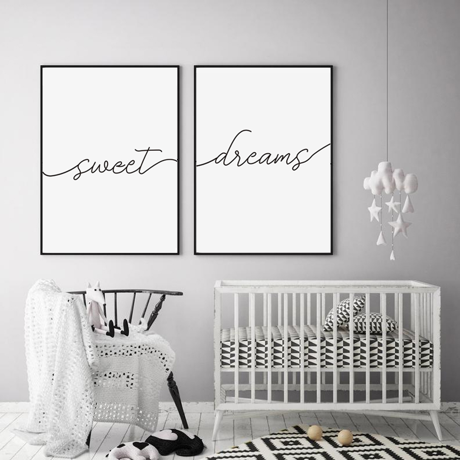 Minimalist Black And White Sweet Dreams Quotes Canvas Painting Nursery Posters Prints Wall Art Pictures For Bedroom Home Decor