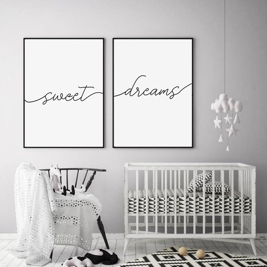 Минималистичные черно-белые цитаты из сладких снов, холст, картина, Детские постеры, принты, настенные художественные картины для спальни, д...